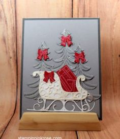 Stampin' Up!  Christmas card with Santa's Sleigh stamp set and designed by Demo Pamela Sadler. See more cards at stampinkrose.com #stampinkpinkrose #etsycardstrulyheart