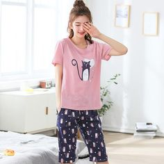 Free Shipping Plus Size M-5XL Women Pajamas Set Summer Short Sleeve Pyjamas  100% 5b8b257ae