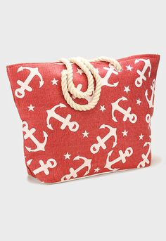 Nautical Anchor & Star Beach Rope Tote Bag - Red