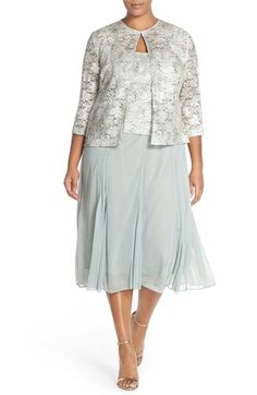 Alex Evenings Tea Length Lace & Chiffon Dress with Jacket (Plus Size) available at #Nordstrom