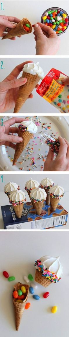 DIY Pinata Ice Cream Cone - I think maybe layered with sweets, mini meringue, chocolate mousse, then ice the mini meringue on top with icing and sprinkles - what a fab party treat! Ice Cream Party, Diy Ice Cream, Cupcake Cakes, Cupcakes, Festa Party, Partys, Cute Food, Kids Meals, Party Time