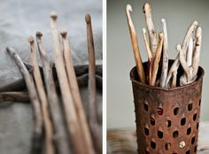 DIY carve your own crochet hooks with sticks/wood, love it  I would love to try my hand at this...both carving them and crocheting with them
