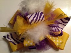 Over the top boutique hair bow  LSU Vikings by ThePrissyPelican