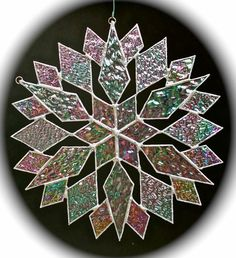 stained glass snowflake suncatcher design 15 by bitsandglassart, $40.00