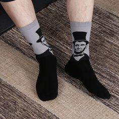 American Flag Wolf Crew Sock Cotton Crazy Solid Socks Womens