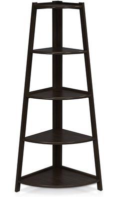 Furinno FNAJ-11112-1 5-Tier Corner Ladder Garden Shelf, Espresso Best Price