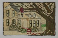 Object Name:Hooked Rug  Place Made:North America: Canada, Central Canada, Ontario, Ridgetown  Period:Early 20th century  Date:1915 - 1925  Dimensions:L 40 cm x W 63 cm  Materials:Burlap; cotton; wool; silk  Techniques:Hooked