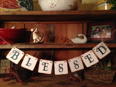 Blessed Bunting, Christmas Bunting, Holiday Banner, Bunting Banner, Christmas Garland