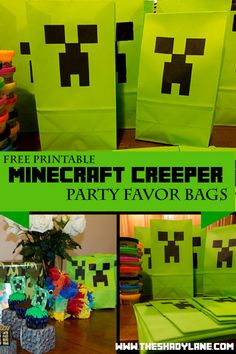 Free Printable Minecraft Creeper Favor Bags! Print these at home for a Minecraft themed loot bag or part decoration! Minecraft Party Bags, Minecraft Birthday Party, Minecraft Birthday Decorations, Minecraft School, Video Game Party, Birthday Fun, 11th Birthday, 6th Birthday Parties, Birthday Ideas