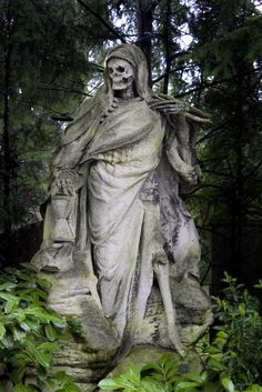 The Grim Reaper, sculptor August Schmiemann; tomb for the merchant Johann Muellemeister in Melaten Cemetery, Cologne, Germany. The scythe he carried on the right was apparently stolen.