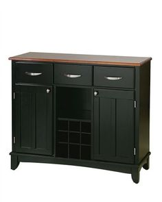 Buffet of Buffet with Wood Top - Homestyles Furniture Styles Large Server with Wood Top is constructed of hardwood and wood products in a black finish with a natural wood top. Features include three utility drawers, two wood framed cabinet d Wood Buffet, Sideboard Buffet, Black Buffet, Buffet Server, Buffet Tables, Dining Buffet, Kitchen Dining, Raised Panel Doors, Ondine