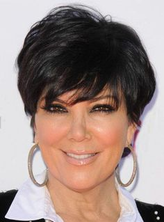 Attractive Kris Jenner Hairstyle Short Straight Black 100% Human Hair Wig