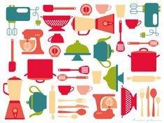 kitchen_print_poster_attires_drawing_illustration_colorful_green_apricot