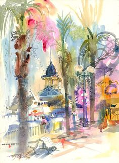 Balboa Pavilion, 1986, art by Ken Potter – California Watercolor