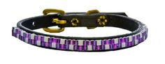 Just Fur Fun Dog Collar Purple Jewel 14Inch Black Leather -- You can find out more details at the link of the image.