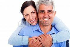 loving middle-aged couple on a white background Stock Photo