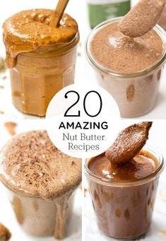 Here are 20 of the healthiest & unique nut butter recipes! We've got so many ideas using all kinds of nut butters using almonds, cashews, peanuts, pistachios or even pecans! Making your own homemade nut butter is the best and so affordable! Homemade Nut Butter Recipes, Nut Recipes, Peanut Butter Recipes, Snack Recipes, Dessert Recipes, Healthy Recipes, Pistachio Butter, Walnut Butter, Cashew Butter