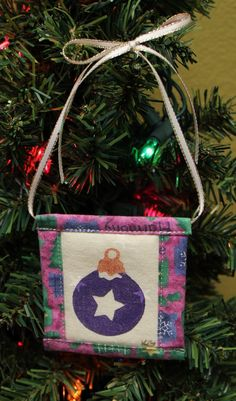 Ornament w. Star Stamped Fabric Square Christmas Ornaments by KjgBoutique on Etsy
