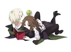 Tags: Fanart, Harry Potter, Pixiv, Hermione Granger, Draco Malfoy, Fanart From Pixiv, Pixiv Id 7513453