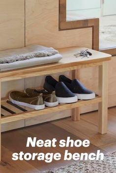 Shoe storage bench from @dunelmuk Front Door Shoe Storage, Boot Storage, Bench With Shoe Storage, Wellies Boots, Space Saving, Shoe Rack, Small Spaces, Doors, Interior