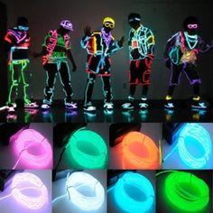 Fil néon Electroluminescent avec boîte à pile pour soirée, fêtes