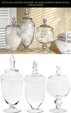 3 Set Glass Canisters Container Jar Home Bathroom Decor Crystal Storage Design #racing #fpv #camera #shopping #plans #storage #parts #technology #tech #kit #jars #products #gadgets #drone