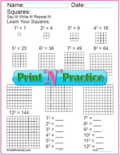 Exponent Worksheets: Memorize square exponents with square areas one to 144.