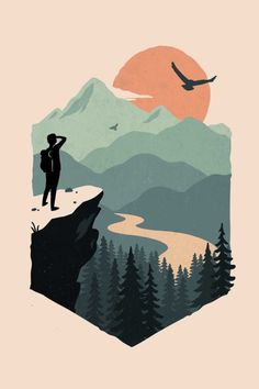 Vast views wild oak illustrationsposters infographics movieposters oak vast views wild animals ilustrations tiere animals me if you are a fan of the forest adventur adventur animals fan forest ilustrations tiere Art And Illustration, Mountain Illustration, Graphic Design Illustration, Illustrations Posters, Graphic Art, Arte Indie, Desenho Pop Art, Posca Art, Graphic Design Inspiration