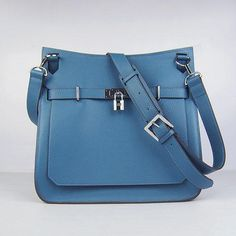 1deec4df158 Hermes Jypsiere Blue Shoulder Bags Messenger Bag Silver