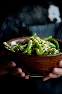 The most amazing green beans you will ever eat. And that's saying alot from a nonveggie eater. :-) Recipe from the amazing Stephanie Izard at Girl and the Goat in Chicago.