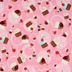 pink cupcakes fabric cherry Robert Kaufman kawaii - Food Fabric - Fabric - kawaii shop modeS4u