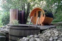 Kundenbild: 2-Raum Fass-Sauna Modell Max mit Harvia Holz Ofen