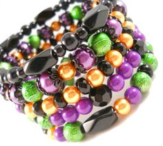 $45  Halloween Jewelry Wrap Bracelet Purple and Green and Orange and Black Trendy Bracelet Teen Tween Jewelry