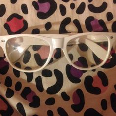 White Clear Lens Glasses (no prescription) This is for the fun chick in you ! Rock Some white glasses just for fun and these add a pop to any outfit  Accessories Glasses