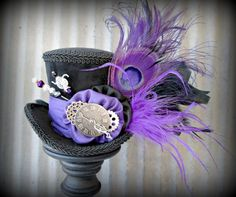 The White Rabbit's cool cousing The Black Rabbit in purple Mini Top Hat, Alice in Wonderland Hat, Mad Hatter Hat, Cog and Gear Hat,Steampunk