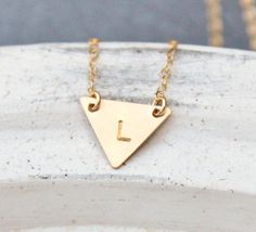 Tiny Gold Initial Necklace . Tiny Triangle by TheSilverWren, $27.00 ---- J in typewriter font