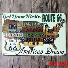 Route 66 American Dream Retro Car Plate Tin Mettal Art Signage for World Map Vintage Globe Home Decor  Resellers welcome. Subcribe to our mailing list for updates on new items.  Promote our products and earn same day commissions: spree.to/?u=14mq