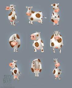 Cow sketches - Silly Beast Illustration