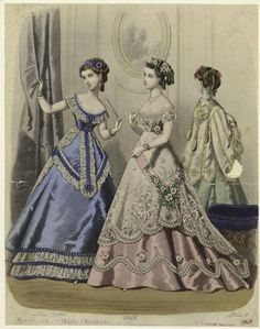 I adore the lace trim on the blue dress 1860s