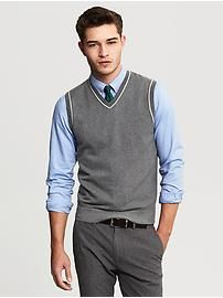 Men's Sweater Vest, Banana Republic. Rolled up sleeves!                                                                                                                                                      More