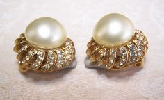 CINER Faux Pearl Crystal Rhinestone Comfort Clip Layered Earrings from northeast-acquisitions on Ruby Lane