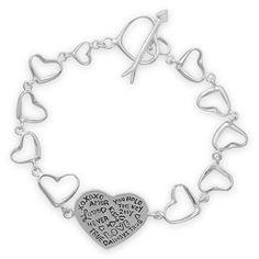 "7.5"" Heart Link Message Bracelet by SunkissedjewelryShop on Etsy"