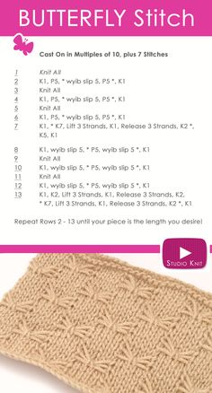 How to Knit the Butterfly Stitch Easy Free Pattern Instruction with Studio Knit via @StudioKnit