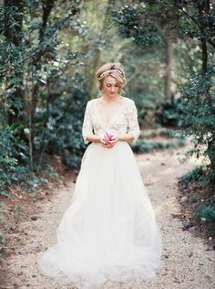 CLAIRE 34 length sleeves lace silk tulle wedding dress / http://www.deerpearlflowers.com/emily-riggs-bridal-romantic-lace-wedding-dresses/