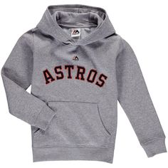 Houston Astros Majestic Youth Wordmark Pullover Hoodie - Heather Gray
