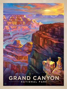 Grand Canyon National Park: Sunset - Anderson Design Group has created an award-winning series of classic travel posters that celebrates the history and charm of America's greatest cities and national parks. Founder Joel Anderson directs a team of talented artists to keep the collection growing. This oil painting by Kai Carpenter celebrates the vast glory of Grand Canyon National Park.<br />