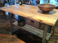 Splash of Red Reclaimed Wood Industrial Rustic Kitchen Island or TABLE on salvaged industrial base USA on Etsy, $599.99