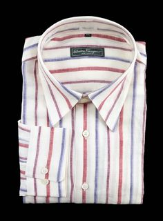 SALVATORE FERRAGAMO Red Blue Striped Linen Dress Shirt  |  Get in there! http://www.frieschskys.com/all-shirts/dress-shirts  |  #frieschskys #mensfashion #fashion #mensstyle #style #moda #menswear #dapper #stylish #MadeInItaly #Italy #couture #highfashion #designer #shopping