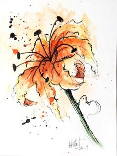 """Original artwork of an orange lily rendered in pen, ink and watercolor. It is titled """"Orange Lily"""" and is signed and dated at the bottom with the title on the back. The lily is painted with a mixture of warm reds and yellows with a hint of rust color here and there with bursts of"""