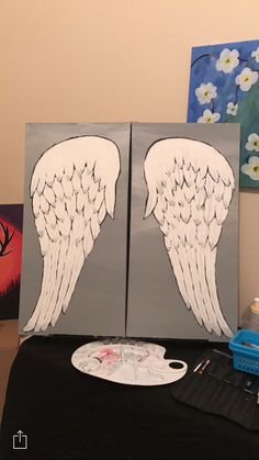 Angel wings acrylic painting